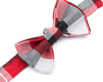 Black White and Red Buffalo Plaid Bow Ties for Boys - Black Bow Tie - Baby Bow Tie - Black Tie for Wedding - Designer Bow Ties for Kids