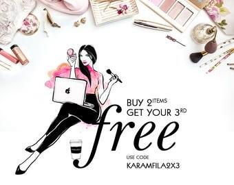 DISCOUNT COUPON: Buy Two - Get Three Items. Karamfila Siderova. Fashion Illustration, Watercolor Clipart, Digital Paper Pack, Wall Art Print