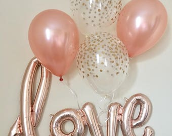 Love Rose Gold Script Balloon~Rose Gold Balloons~Wedding Shower Decorations~Gold Confetti Look Balloon~ Bridal Shower~Engagement Party