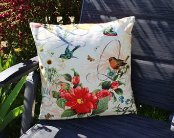 Pillow Upholstery Country house style, flowers and birds
