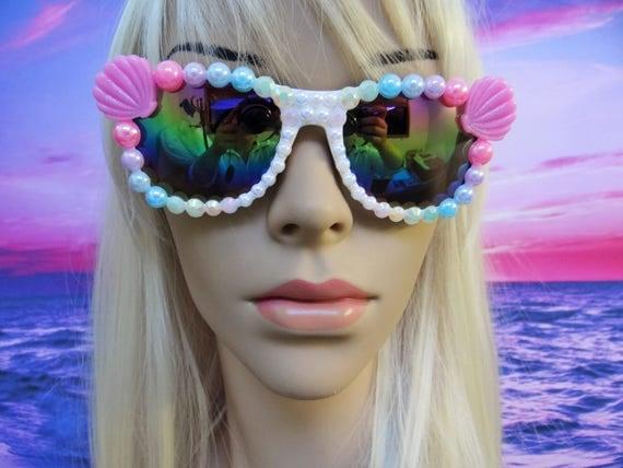 Rainbow I'm Really A MERMAID Sunglasses Sun Glasses Sunnies Wayfarers Aviators Ariel Disney Mirrored My Little Pony Mirror The Little A011