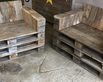 Two love seats made from 100% reclaimed pallet wood.