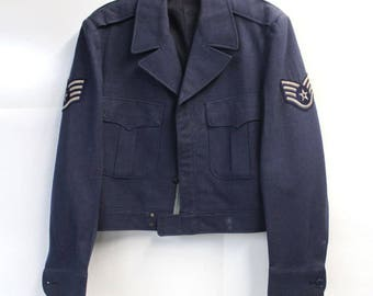 Vintage 40s/50s WWII Air Force Military Uniform Lined Zip-Up Wool Bomber Jacket With Patches on Sleeves - Size Medium/Large