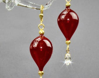 Gold plated earring, dark red, mouth-blown, Silver 925/000