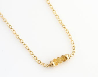 November Citrine Birthstone Necklace / Birthstone Necklace for Women / Birthstone Layering Necklace / Birthday Birthstone Necklace