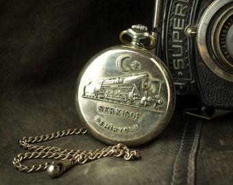 Russian watch Molnija '' Train '' soviet watch Men's pocket watch USSR Working Molnia