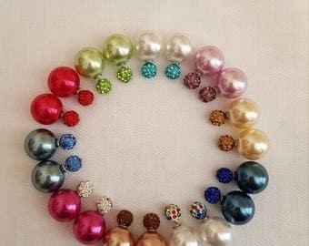 Double Pearl Stud Earrings - Crystal Pearl Stud Earrings - Stud Earrings - Pearl Earrings - Crystal Earrings - Colorful Earrings - Earrings