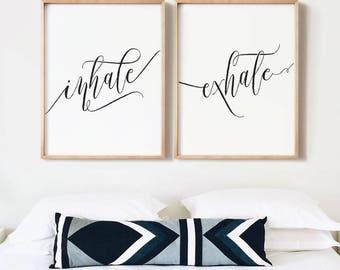 Inhale exhale art, PRINTABLE art, Bedroom decor, Black & white prints, Modern Minimalist, Quote art, Inhale exhale wall art, Large wall art