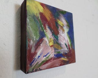 Inspired Abstract Oil Painting on Gallery Canvas 6x6 inches