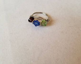 3 Stone Wire Wrapped Ring