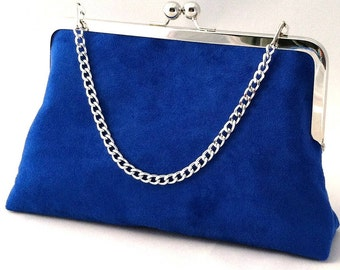 Royal Blue Suede Handbag Clutch Purse ~ Royal Blue Suede Evening Purse