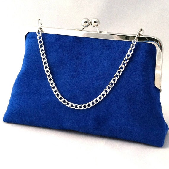Royal Blue Suede Handbag Clutch Purse Royal Blue Suede Purse