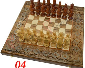 Egypt Chess Set Egyptian pharaoh Chess Ancient Egypt chess board Chess pieces Backgammon table Chess set Backgammon set Carved wood Handmade