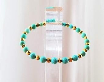 Dainty Turquoise Bracelet, Bangle, Natural Gemstones Gold Crystal