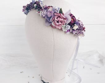 Lavender wedding,Bridal floral crown, bridal flower crown, Lavender crown, woodland wedding, rustic wedding