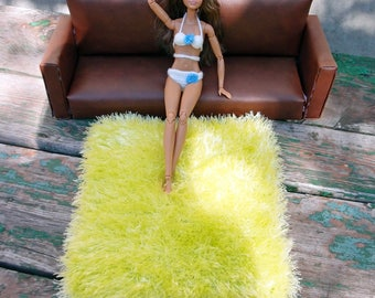 Green yellow 12 inch doll rug 1:6 scale furry blanket Dollhouse fluffy mat Barbie grass rug Playscale diorama furniture Fashion doll blanket