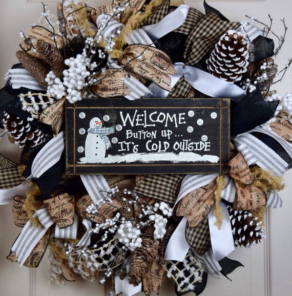 It's Cold Outside Snowman Welcome Burlap Black White and Grey Wreath with Glittered Berries and Pine Cones; Christmas Winter Holiday Wreath