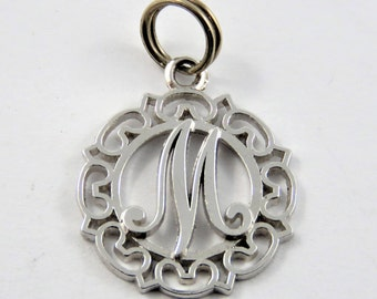 """Initial """"M"""" Sterling Silver Charm or Pendant."""