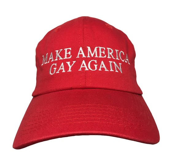 Make America Gay Again (Ball Cap - Red Embroidered with White Stitching)