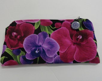 "Zippered bag, pouch,  purple and magenta orchids, 10"" long x 5"" wide, fully lined, zipper pull cotton FREE US SHIPPING"