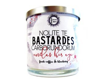 Nolite Te Bastardes Caborundorum - Don't Let the Bastards Grind You Down - Book Inspired 9oz Wood or Double Wick Soy Candle - Coffee, Bluebe