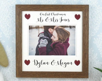 Our first christmas as Mr and Mrs, Photo frame, Picture frame, Personalised. Mr and Mr, Mrs and Mrs also available.