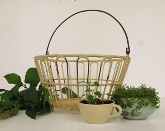 Vintage Egg Basket with Yellow Vinyl Coated Wire, Metal Gathering Basket, Farmhouse Decor, Decorative Storage, Primitive Planter