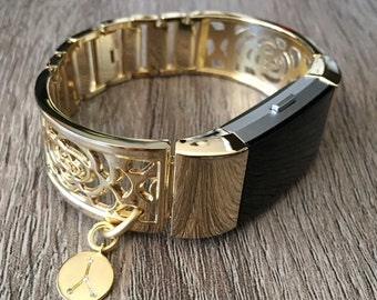 Gold Color Band for Fitbit Charge 2 Fitness Tracker Handmade Fitbit Charge 2 Bracelet Cancer Constellation Gold Color CZ Zodiac Charm Bangle