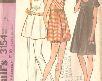 """McCall's 3514 Misses' 70's Maternity Dress or Tunic Pants and Bloomers - Size 12 Bust 34"""""""