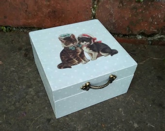 Vintage Cats Keepsake Box, Vintage Style, Jewelry Box, Wooden Box, Decoupage Box, Trinket Box, Cottage Chic