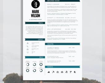 "Modern Resume Template | Modern CV Template | Modern CV Design + Cover Letter for MS Word | Instant Digital Download | The ""Pimlico"" Resume"