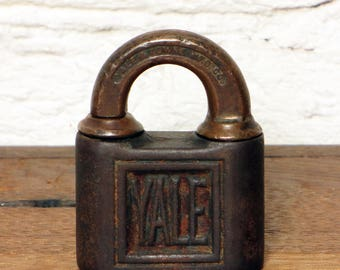 Vintage Antique Iron and Brass Yale Padlock with Key Clover 1890 Metal Yale and Towne Mfg Co Stamford, CT, USA Security for Trunk Locker Box