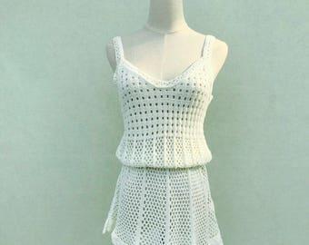 Stunning Women's Boho Chic Crochet White Beach Dress - Amazing For The Summer