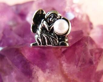 Silver Plated Fairy European Charm Bead Pearl Fairy Bead Large Hole Focal Bead Fairy Holding Pearl Bead Fairy Charm Bead