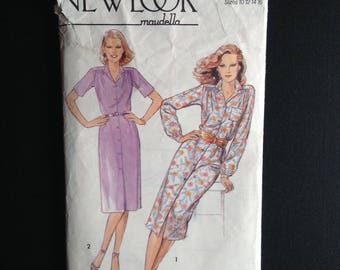 New Look Maudells 6203, Shirtdress, 1970s do 1940s.  Size 10.  Vintage British Sewing Pattern