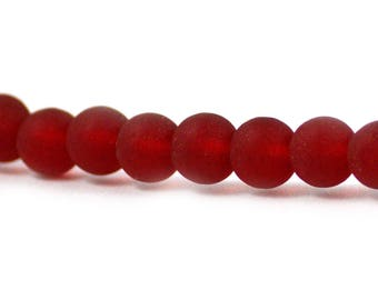 Recycled Cultured Sea Glass Round Beads Cherry Ruby Red 6mm