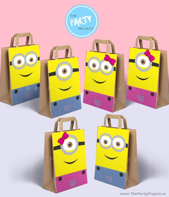 DIY PRINTABLE Minions party bags decoration Boy and Girl Minions