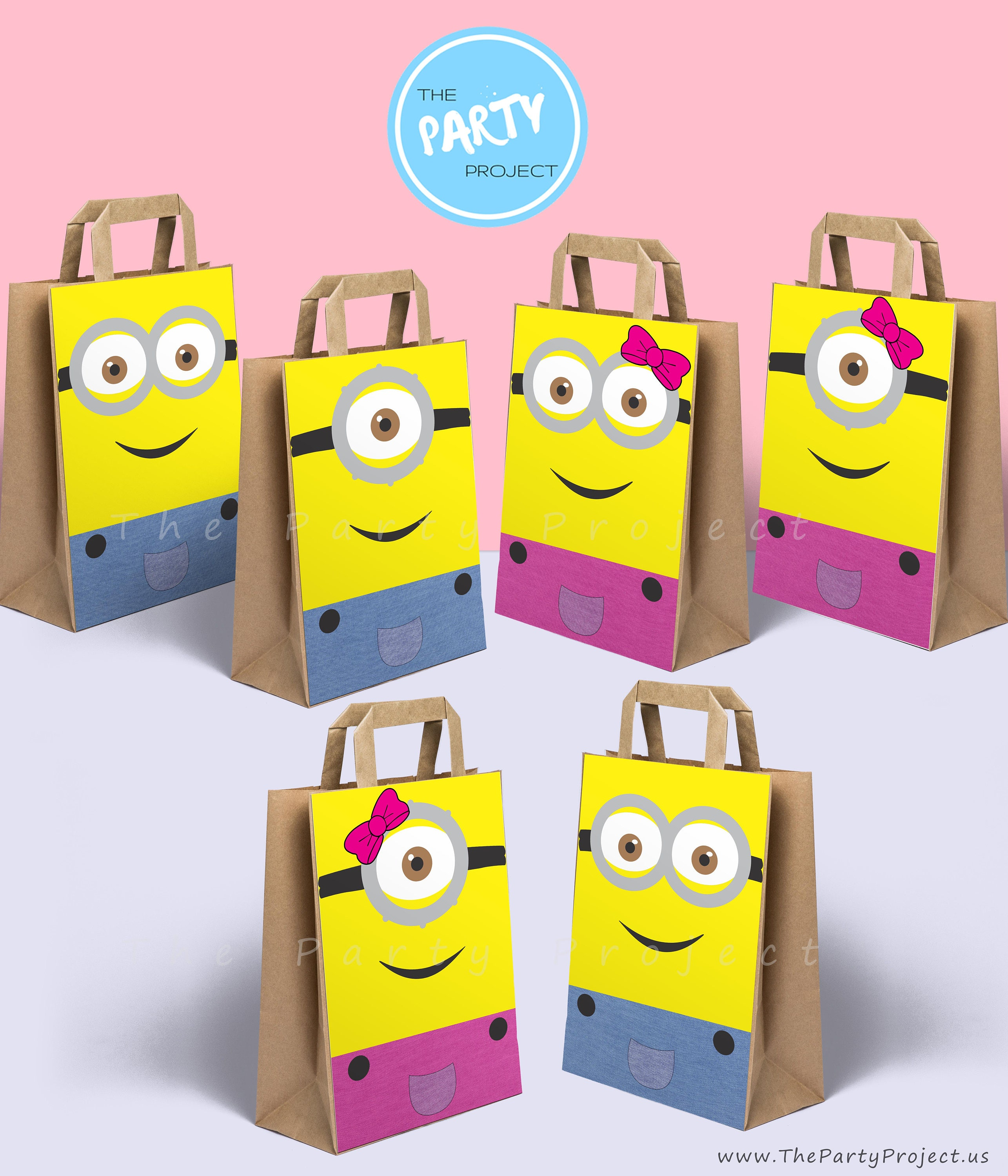 DIY PRINTABLE Minions party bags decoration Boy and Girl