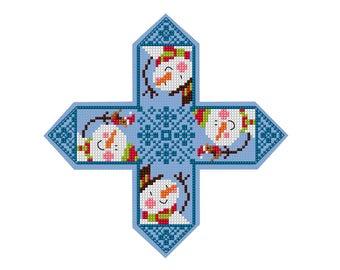 Snowman Christmas Ornament - Durene J Cross Stitch Pattern _ DJXS2243