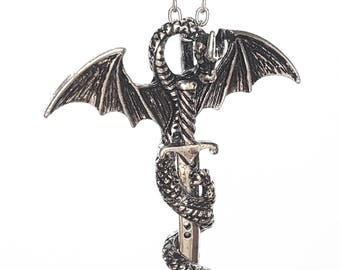 Dragon Sword Necklace Chain Knight inspired by Game of Thrones Silver Gold Handmade by Serebra Jewelry