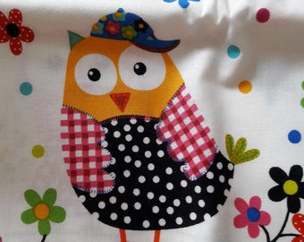Fabric coupon - owls with off-white 112 cm x 75 cm background