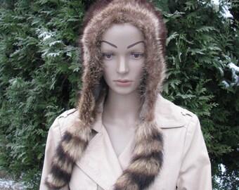 Cap fur HAT natural fox fur winter pom pom hat fox tail rare hat