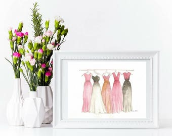 Watercolour Fashion Illustration Print in Matte or Glossy -  fashion design art, fashion prints, fashion design painting, dresses painting