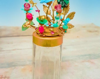 Vintage jewelry flask, glass flowers bunch in gold top