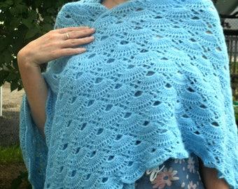 Crochet Wrap Shawl, Handmade Shawl, Lace Shawl, Wool Shawl, Sky Blue Shawl, Cozy shawl, gift for her