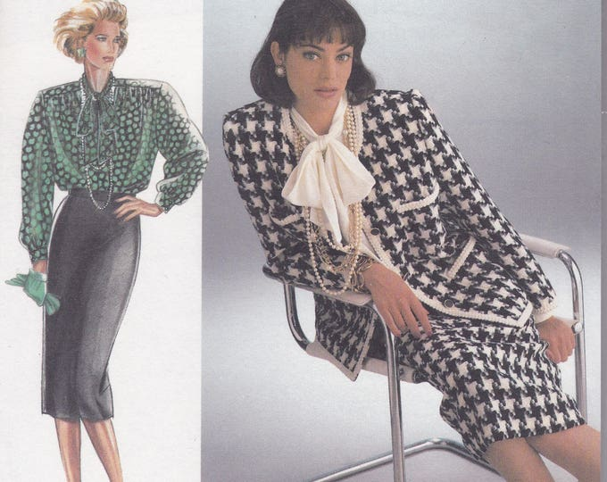 FREE US SHIP Burda 6092 Retro 90's Sewing Pattern Suit Jacket Skirt Blouse Size 8 10 12 14 16 18 20 22 Bust 31 32 34 36 38 40 42 44 Uncut