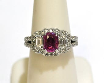 1.16ct Pink Sapphire/Diamond Ring in 18k White Gold-GIA CERTIFIED