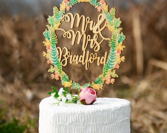 Wedding Cake Topper, Personalized Wedding Cake Topper Made of Wood and Printed with Colorful Floral Wreath, Custom Last Name Cake Topper
