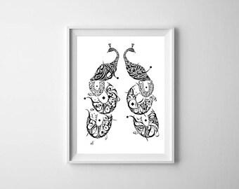 Umm Kulthum Art - Arabic Calligraphy Peacock Print - Black and White - Arabic Poetry - Abu Firas Al-Hamdani