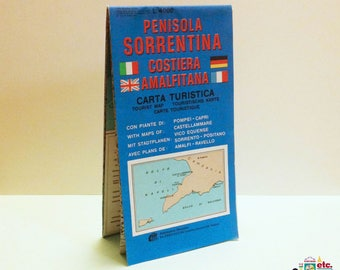 Sorrentine Peninsula Tourist Map, Amalfi Coast, Italy, Fold-Out Map, Illustrated Maps and Attractions, Travel Ephemera, Vintage 1987